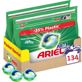 Detergent capsule Ariel All in One PODS Mountain Spring, 134 spalari (2x67)