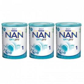 Lapte praf Nestle NAN 1 Optipro, 0-6 luni, 3x800g