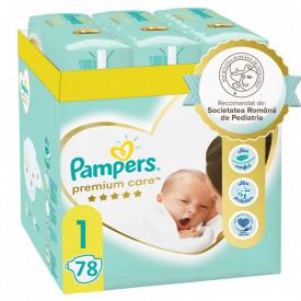 Scutece Pampers Premium Care XL Box Nou Nascut, Marimea 1, 2-5 kg, 78 buc (3x26)