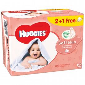 Servetele umede Huggies Soft Skin, 2+1 pachete, 168 buc