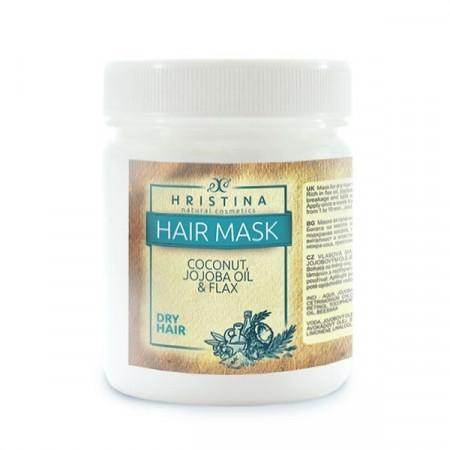 Mască pentru păr uscat cu cocos, ulei de jojoba și in