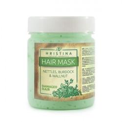 Mască pentru păr deteriorat cu urzică, brusture și nuc