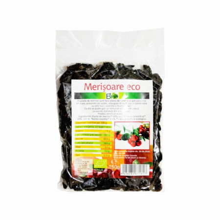 Merisoare uscate, deshidratate, indulcite cu suc de mere, BIO 150g