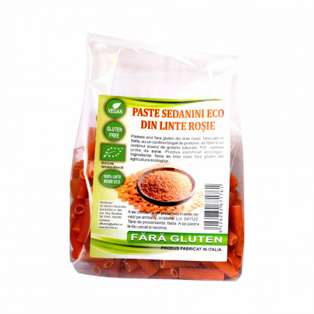 Paste sedanini fara gluten din linte rosie, BIO 250 g