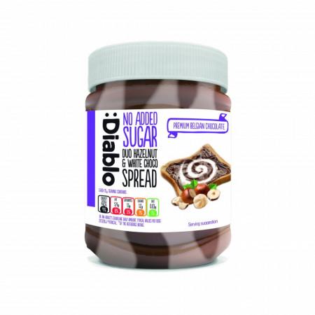 Crema tartinabila bicolora Diablo Premium cu alune de padure si ciocolata alba, fara zahar, 350g