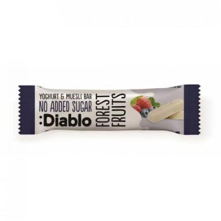 Baton musli cu aroma de fructe de padure si glazura de iaurt, fara adaos de zahar, cu indulcitori, Diablo 30g