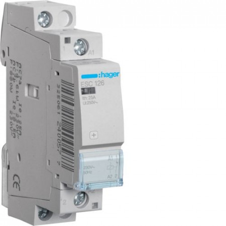 Contactor modular Hager ESC125 - CONTACTOR, 25A, 1ND, 230V