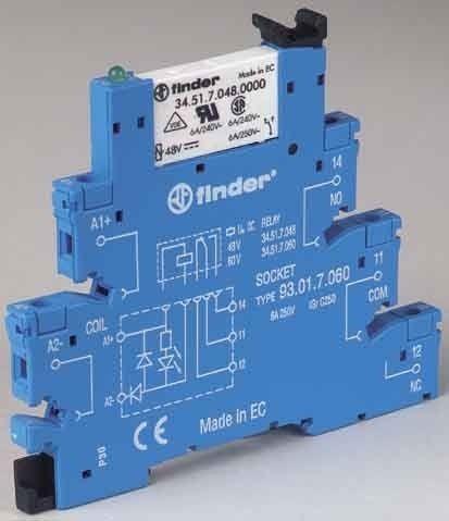 Releu Finder 385102400060 - Releu comutatie 240V, AC/DC, 1C, 6A