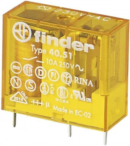 Releu Finder 405180240000PAC - RELEU , 24V, AC, 1C, 10A, AGNI,