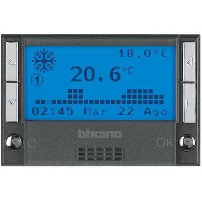 Termostat Bticino HS4451 Axolute - Termostat de ambianta cu temporizator, 3 module, negru