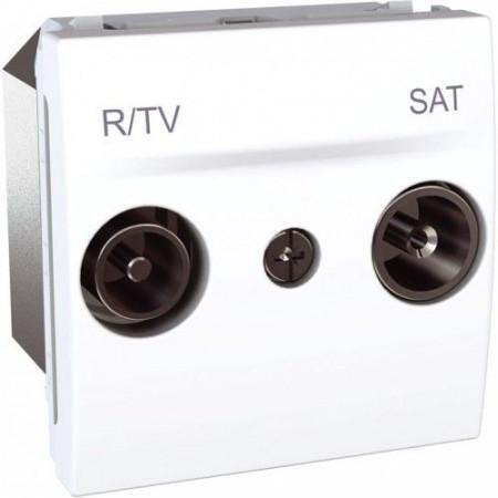 Priza TV Schneider MGU3.454.18 Unica - Priza R-TV/SAT de capat, 2M, alb