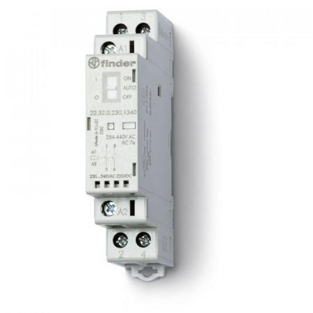 Contactor modular Finder 223200124340 - CONT. MOD., 2 ND, 12V C.A./C.C., 25 A, AGSNO2; AUTO-ON-OFF + + L