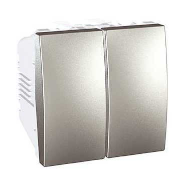 Intrerupator Schneider Unica MGU3.211.30 - intrerupator dublu, 2M, argintiu