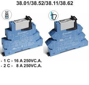 Releu Finder 385200240060 - INTERFATA MODULARA CU RELEU ELECTROMECANIC, BORNE CU SURUB, 24V, AC/DC, 2C, 8A