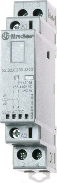 Contactor modular Finder 223200241320 - CONT. MOD., 2 ND, 24V C.A./C.C., 25 A, AGNI; + LED