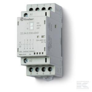 Contactor modular Finder 223400244320 - CONT. MOD., 4 ND, 24V C.A./C.C., 25 A, AGSNO2; + LED