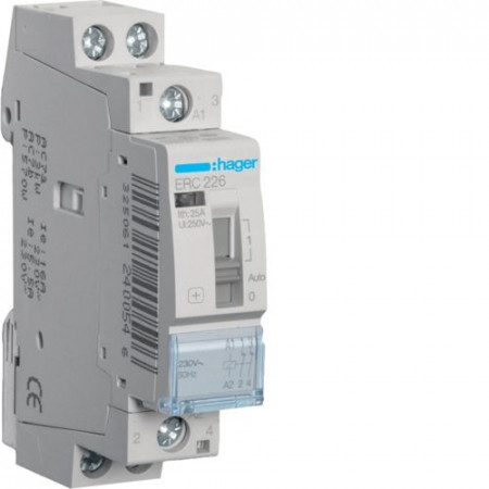 Contactor modular Hager ERL240 - CONTACTOR MANUAL, 40A, 2ND, 12V