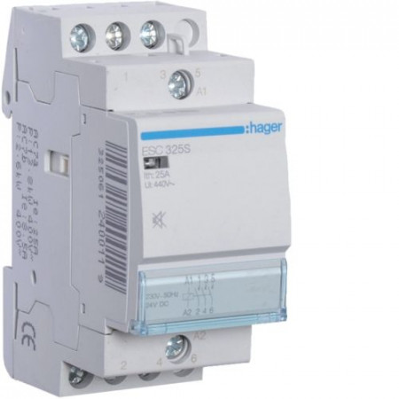 Contactor modular Hager ESC426S - CONTACTOR SIL., 25A, 4NI, 230V