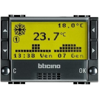 Termostat Bticino L4451 Living Light - Termostat de ambianta cu temporizator, 3M, 2A, negru