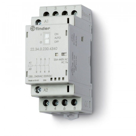 Contactor modular Finder 223202304340 - CONT. MOD., 2 ND, 230V C.A./C.C., 25 A, AGSNO2; AUTO-ON-OFF + +