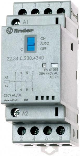 Contactor modular Finder 223400244340 - CONT. MOD., 4 ND, 24V C.A./C.C., 25 A, AGSNO2; AUTO-ON-OFF + + L