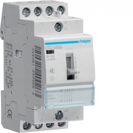 Contactor modular Hager ETC425S - CONTACTOR SIL., D/N, 25A, 4ND, 230V