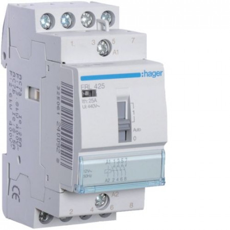 Contactor modular Hager ERC425 - CONTACTOR MANUAL, 25A, 4ND, 230V