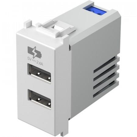 Priza USB Tem Modul EM67PW-U - IncarcatorUSB dubla TEM, 2400 mAh, alb