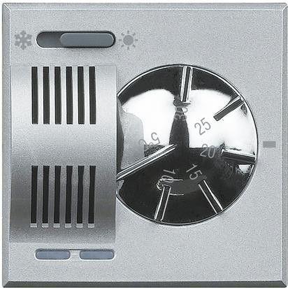 Termostat Bticino HC4442 Axolute - Termostat de ambianta cu inversor vara/iarna, 230V, 2 module, argintiu
