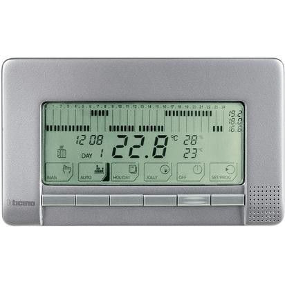 Termostat Bticino NT4450 Living Light - Termostat de ambianta cu temporizator si montaj aplicat, argintiu