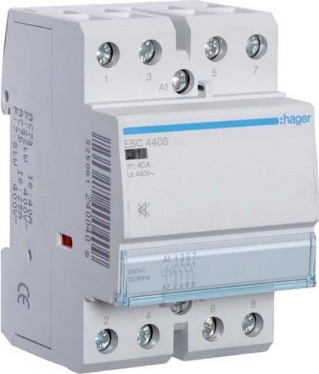 Contactor modular Hager ESC440S - CONTACTOR SIL., 40A, 4ND, 230V