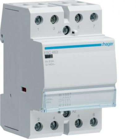 Contactor modular Hager ESC466 - CONTACTOR, 63A, 3ND+1NI, 230V