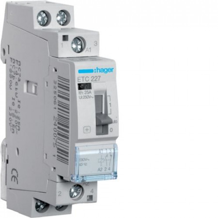 Contactor modular Hager ETC225S - CONTACTOR SIL., D/N, 25A, 2ND, 230V