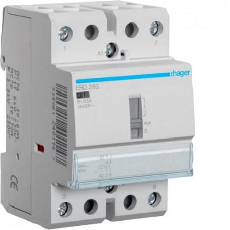 Contactor modular Hager ERD263 - CONTACTOR MANUAL, 63A, 2ND, 24V