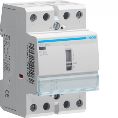 Contactor modular Hager ERL263 - CONTACTOR MANUAL, 63A, 2ND, 12V
