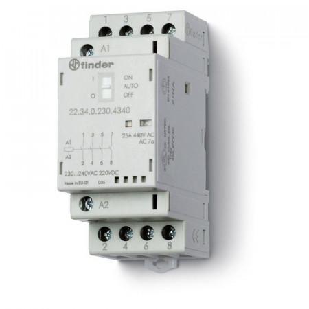 Contactor modular Finder 223400241340 - CONT. MOD., 4 ND, 24V C.A./C.C., 25 A, AGNI; AUTO-ON-OFF + + LED