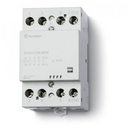 Contactor modular Finder 226400244610 - Contactor modular, 2 ND+2 NI, 24V c.a./c.c., 63A, AgSnO2; Indicat