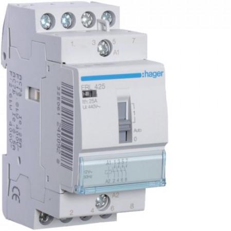 Contactor modular Hager ERC425S - CONTACTOR SIL. MANUAL, 25A, 4ND, 230V