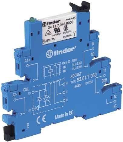 Releu Finder 385170245050 - INTERFATA MODULARA CU RELEU ELECTROMECANIC, BORNE CU SURUB, 24V, DC, 1C, 6A