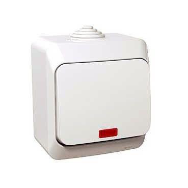 Intrerupator Schneider Cedar WDE000571 - Intrerupator in cruce cu indicator luminos, IP44, alb