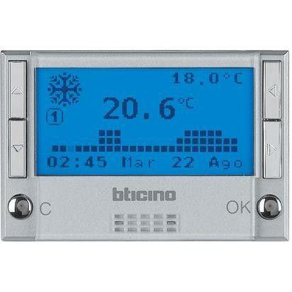 Termostat Bticino HC4451 Axolute - Termostat de ambianta cu temporizator, 3 module, argintiu