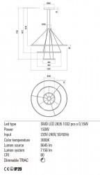 Corp iluminat Redo 01-2244 Orbit - Lustra led, 150W, 3000k, 7156lm, negru