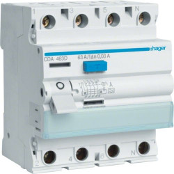 Intrerupator automat Hager CD480D - INTR.DIF. 4P, 80A, 30MA, A