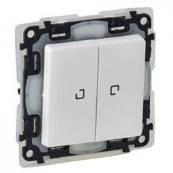Intrerupator Legrand 752159 Valena Life - Intrerupator cap-scara dublu cu lumina de control, IP44, borne automate, LED