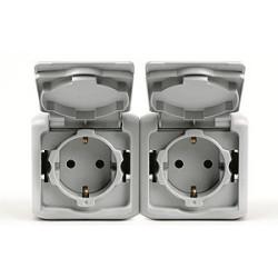 Intrerupator Legrand 782394 Forix - Priza dubla standard german IP44, 2x2P+T, 16A, gri