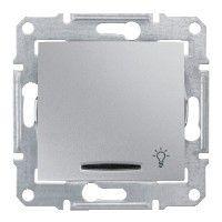 Intrerupator Schneider SDN1800160 Sedna - Intrerupator cu revenire si indicator luminos albastru,10 AX - 250 V, cu simbol lumina, aluminiu