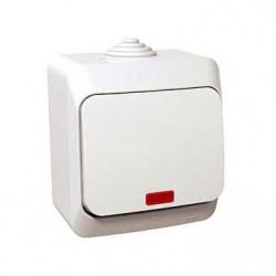 Intrerupator Schneider WDE000514 Cedar - Intrerupator cu revenire, iluminabil, IP44, 16A, alb