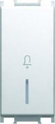 Intrerupator Tem SM11PWIN01-B Modul - Buton cu led simb sonerie.1m alb