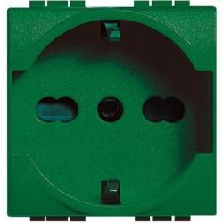 Priza Bticino L4140X16V Living Light - Priza standard german/italian, 2P+T, 16A, 2M, verde