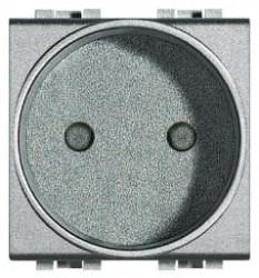 Priza Bticino NT4143 Living Light - Priza standard francez, 2P, 16A, 250V, 2M, argintiu